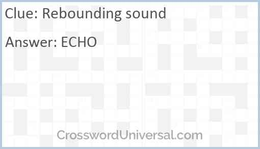 Rebounding sound Answer