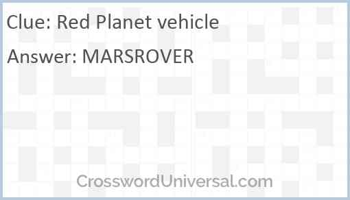 Red Planet vehicle Answer
