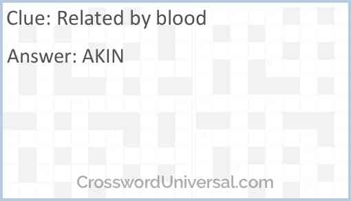 Related by blood Answer