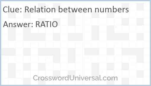 Relation between numbers Answer