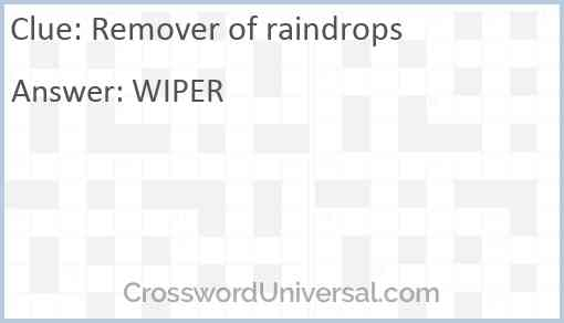 Remover of raindrops Answer