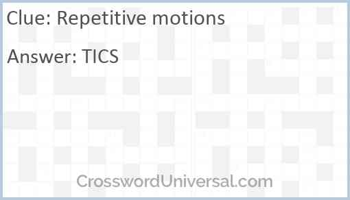 Repetitive motions Answer