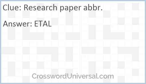 Research paper abbr. Answer