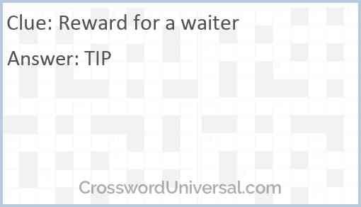 Reward for a waiter Answer