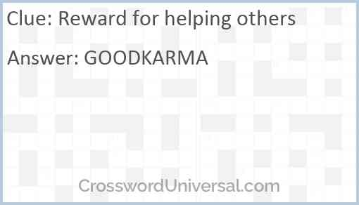 Reward for helping others Answer