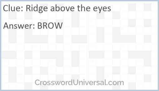 Ridge above the eyes Answer