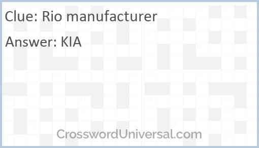 Rio manufacturer Answer