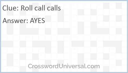 Roll call calls Answer