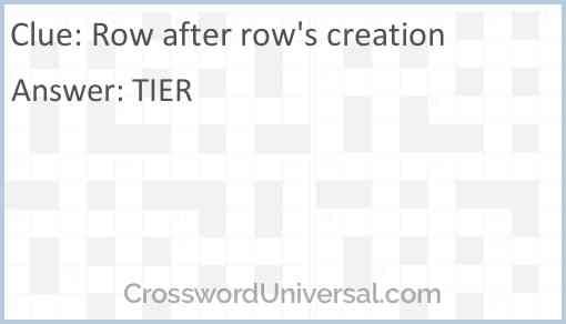 Row after row's creation Answer
