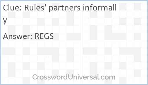 Rules' partners informally Answer