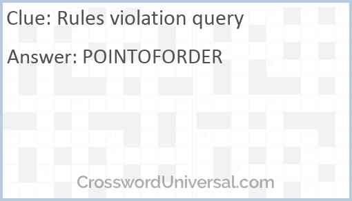 Rules violation query Answer
