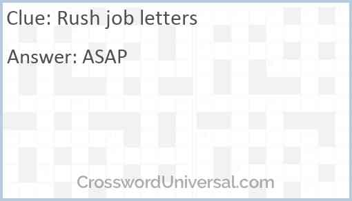 Rush job letters Answer