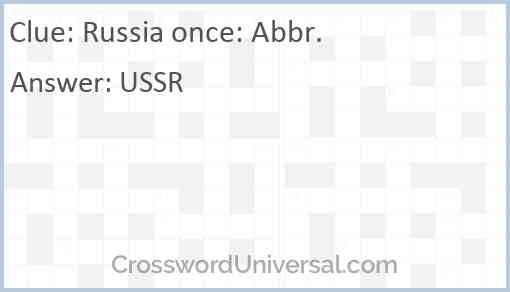 Russia once: Abbr. Answer