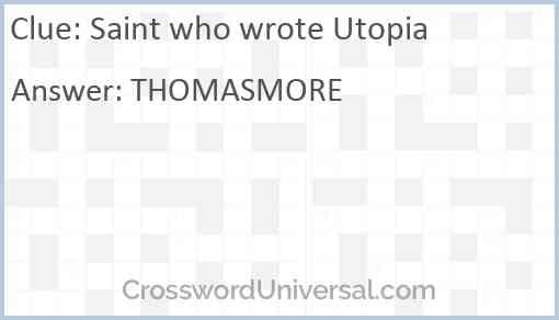 Saint who wrote Utopia Answer