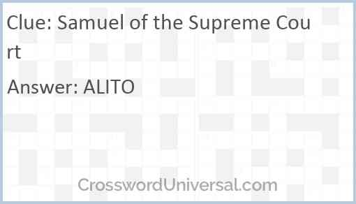 Samuel of the Supreme Court Answer