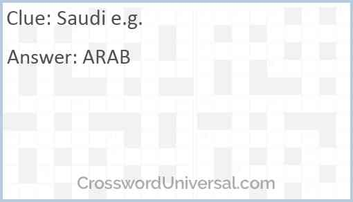 Saudi e.g. Answer