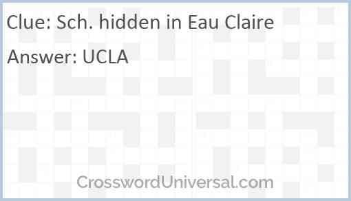 Sch. hidden in Eau Claire Answer