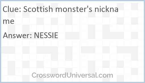 Scottish monster's nickname Answer