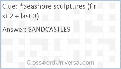 *Seashore sculptures (first 2 + last 3) Answer