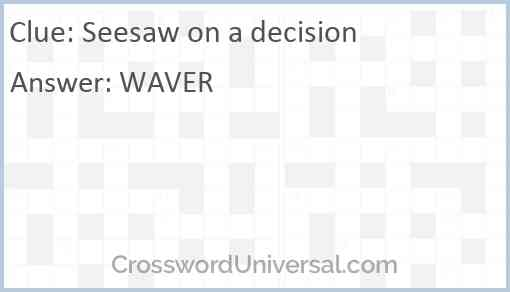 Seesaw on a decision Answer