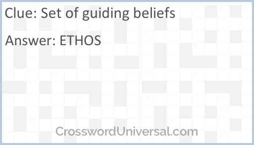 Set of guiding beliefs Answer