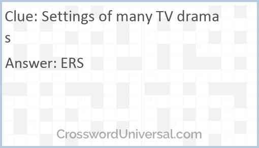Settings of many TV dramas Answer
