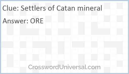 Settlers of Catan mineral Answer
