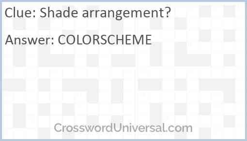 Shade arrangement? Answer