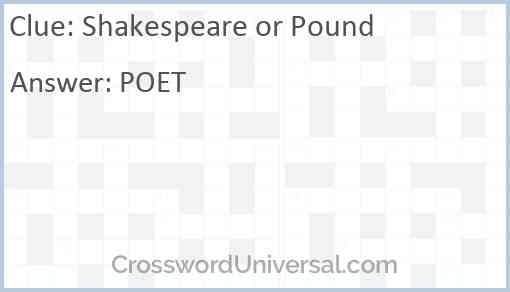Shakespeare or Pound Answer