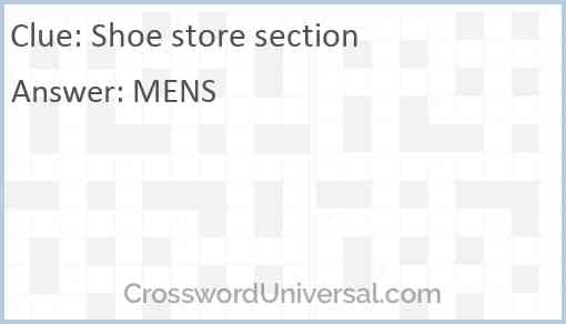 Shoe store section Answer