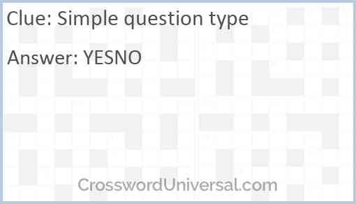 Simple question type Answer