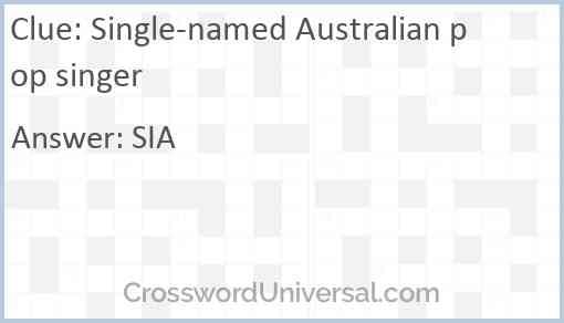 Single-named Australian pop singer Answer