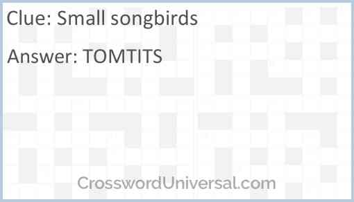 Small songbirds Answer
