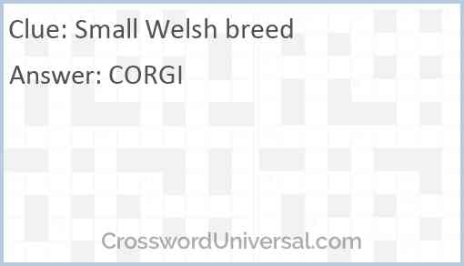 Small Welsh breed Answer