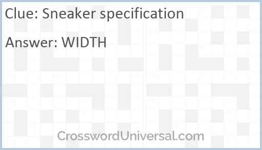 Sneaker specification Answer