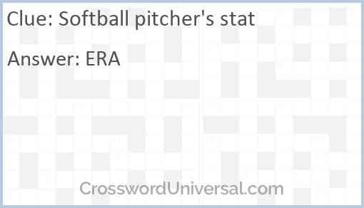 Softball pitcher's stat Answer