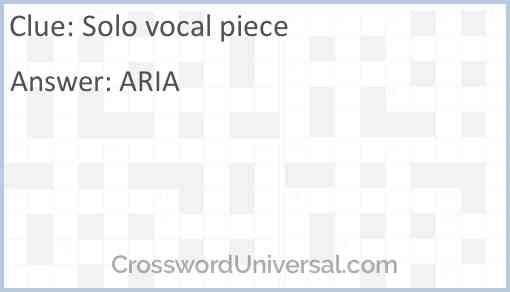 Solo vocal piece Answer