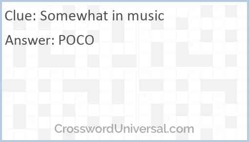 Somewhat in music Answer