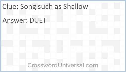 Song such as Shallow Answer