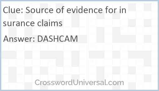 Source of evidence for insurance claims Answer