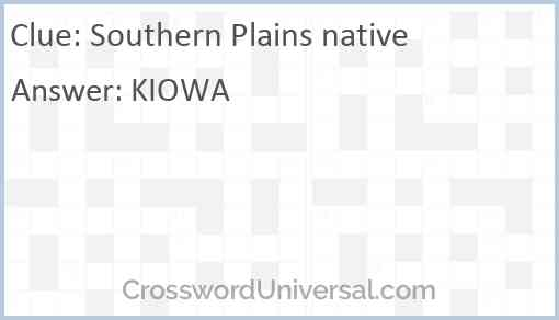 Southern Plains native Answer