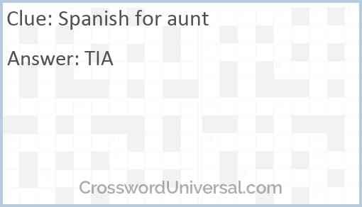 Spanish for aunt Answer