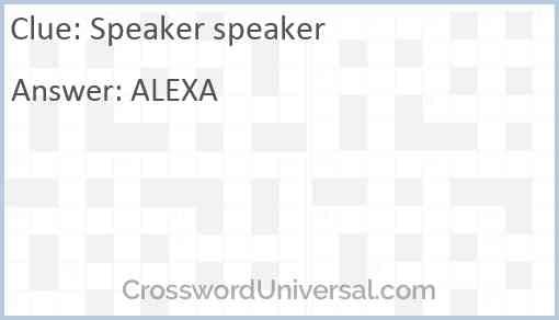 Speaker speaker Answer