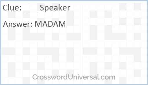 ___ Speaker Answer