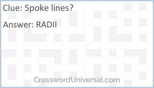 Spoke lines? Answer