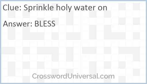 Sprinkle holy water on Answer