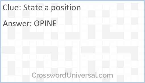 State a position Answer