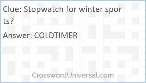Stopwatch for winter sports? Answer