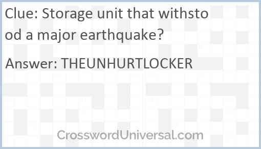 Storage unit that withstood a major earthquake? Answer