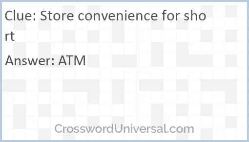 Store convenience for short Answer